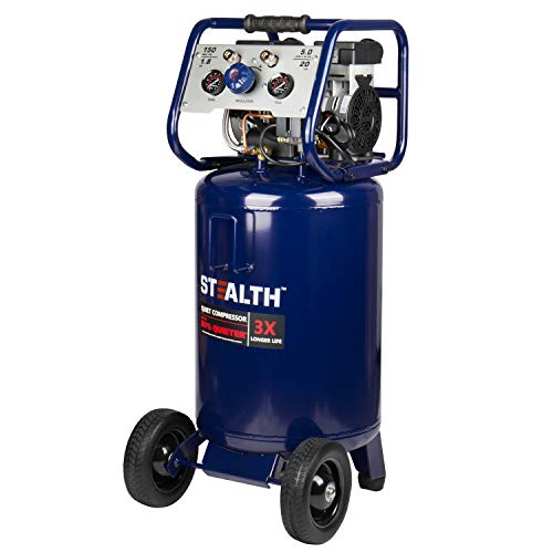 Stealth 20 Gallon Ultra Quiet Air Compressor,1.8 HP Oil-Free Peak 150 PSI 68 Decibel Air Compressor, 6CFM @ 40 PSI 5 CFM @ 90 PSI Long Life Electric Air Compressor W/Wheel for Garage, Jobsite