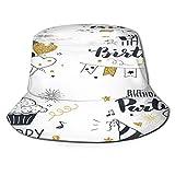 RUEMAT Cappello da Pescatore Unisex,Impostare Biglietti di Auguri di Compleanno Design Nero,Cappello da Sole Pieghevole Cappello da Pesca Viaggio Spiaggia Esterno Cappellino Fisherman cap Hat