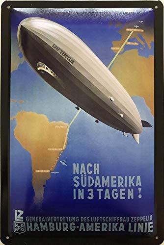 Deko7 blikken bord 30 x 20 cm GRAF Zeppelin - naar Zuid-Amerika in 3 dagen
