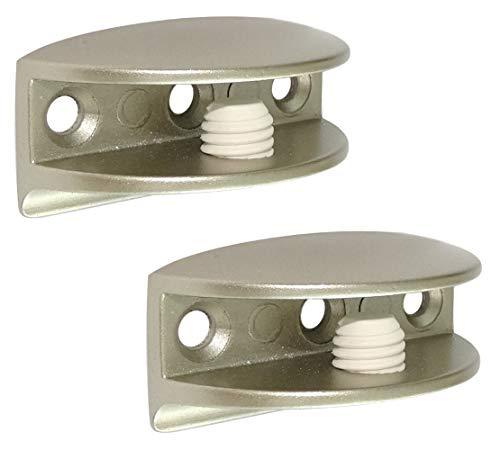 Aerzetix C41769 houder voor glazen plank, 8/10 mm, metaal, zilverkleurig, satijn, 2 stuks