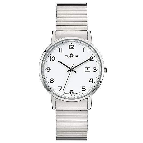 Dugena Herren Quarz-Armbanduhr, Elastisches Zugband, Gehärtetes Mineralglas, Moma Comfort, Silber/Weiß, 4460751
