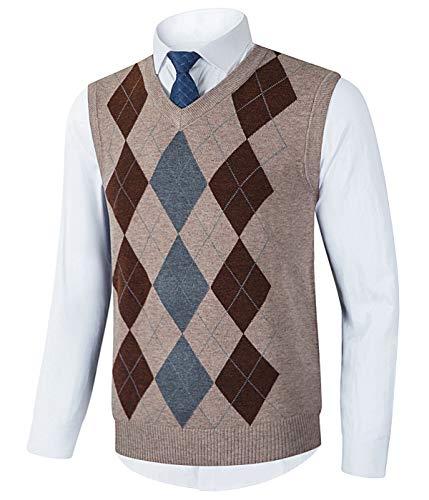 Homovater Mens Sleeveless Sweater V-Neck Knitted Vest Golf Tank Top Slim Fit Knitwear Pullover Argyle Khaki