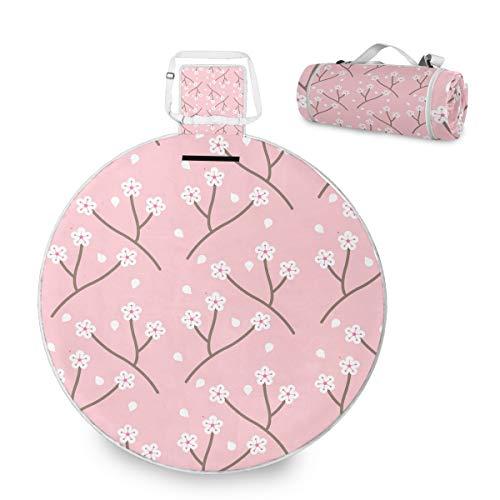 FANTAZIO Freehand Painted Pink Sakura Picknickdecke Outdoor Decke Doppelschichten für den Außenbereich, wasserabweisend, handliche Matte, ideal für den Strand, Camping auf Gras, wasserdicht sandfest