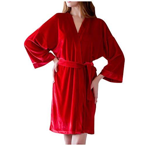 Ncenglings Pijama de tela sedosa para mujer, color puro, falda V-Leader con encaje, vestido de noche con cinturón, regalo para mujeres y niñas