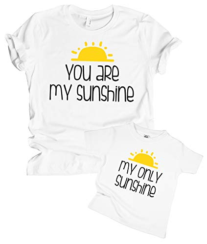 The Spunky Stork Mother & Daughter Son You are My Sunshine Matching Shirt (Youth XS (4/5), My Only Sunshine)