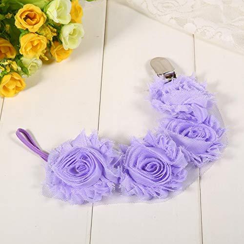 SALUTUYA Cadena de Chupete para bebé, Lindo y Encantador, Bonito Regalo para niñas Estilo Flor Rosa,(Light Purple)