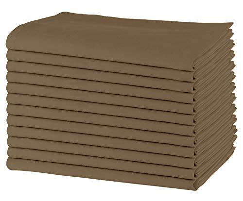 SweetNeedle - Paquet de 12 - Serviettes de table surdimensionnées 100% coton 50 CM x 50 CM (20 po x 20 po), Pierre - Tissu épais pour une utilisation quotidienne avec coins arrondis