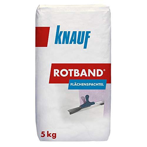 Knauf Rotband Flächenspachtel – schnell härtende Spachtel-Masse zum Spachteln und Glätten von Putz, Mauerwerk etc., leicht zu verarbeiten, Wand-, Decken-Spachtelmasse für Innen-Bereich, 5-kg