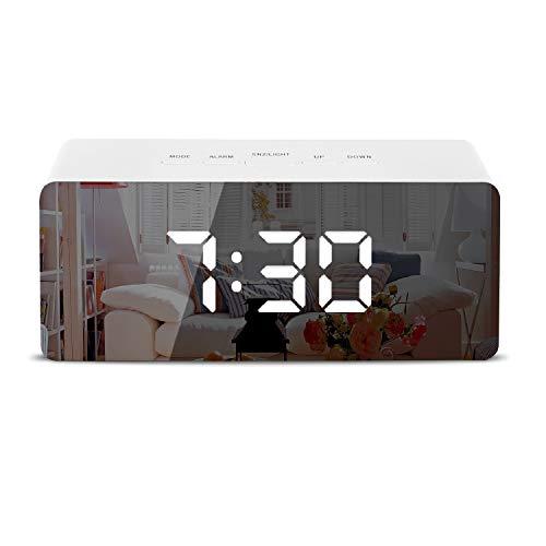 sanlinkee LED Wecker Digital Reisewecker mit Temperaturanzeige Alarmwecker Spiegelwecker, Weiß