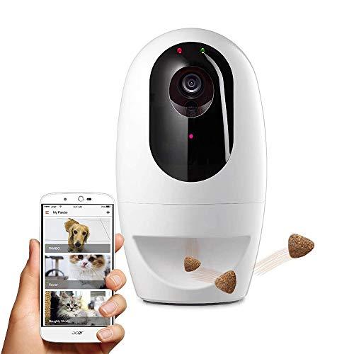 HWZQHJY Full HD WiFi Haustier-Kamera mit 2-Wege-Audio, Treat Dispenser mit Hunde- und Katzenlaserpointer
