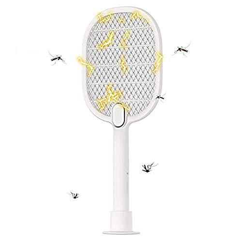 pb+ Eléctrico Mosquito Mosca Loco Matamoscas,Protección de Malla de Seguridad de 3 Capas/USB Recargable/Iluminación LED, Plagas Insectos Asesino Repelente para Jardinería, Playa, Camping (Blanco)