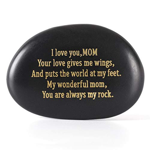 Cleaky Mom Gift I Love You Mom You are Always My Rock Best Engraved Rock Gift Mother's Birthday Present from Daughter or Son