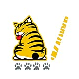 3D Car Decals and Stickers Cartoon Funny Cat Moving Tail Stickers Windshield Wiper Decals Car Styling Window Wiper Decals Tags for Rear Wipers (Yellow)