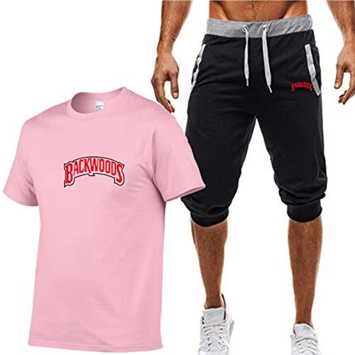 GIRLAA Camiseta Backwoods con Letras para Hombre Bolsillos Laterales De Algodón Camisa con Protección UV Pantalones Cortos Ropa Deportiva L