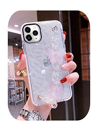 Diamond texture 3D Laser butterfly Wrist bracelet Phone Case for iPhone 11 12 Pro 7 8 plus XS Max XR Clear Cover funda-3-for iphone 8 plus