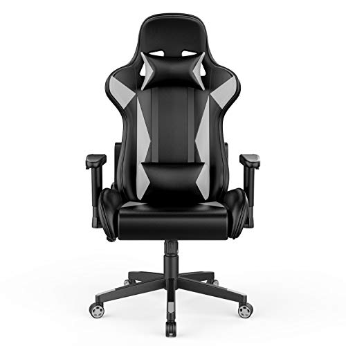 AmazonBasics BIFMA Certified Gaming/Racing Style Office Chair - with Removable Headrest and High Back Cushion - White, BIFMA Certified
