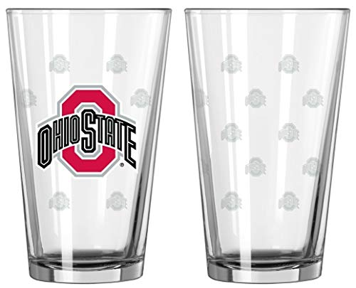 Boelter Brands Ohio State Buckeyes Glass Pint Satin Etch 2 Piece Set, One Size, Clear
