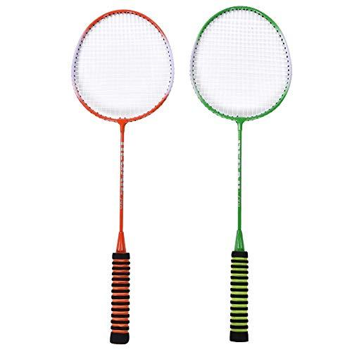 Huairdum Badmintonschläger, leichte Doppelschläger Stahllegierung Professioneller Badminton-Trainingsschläger mit Tasche für Familienunterhaltung
