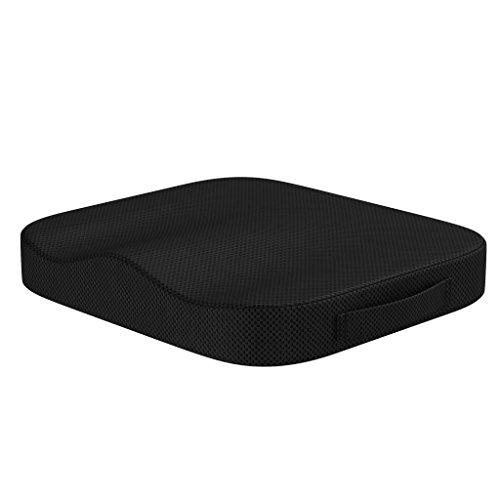bonmedico Sitzkissen - Stuhl-Sitzpolster für Erwachsene - Ergonomisches Kissen für Bürostuhl und Auto aus Memory Foam für mehr Sitzkomfort – Schwarz
