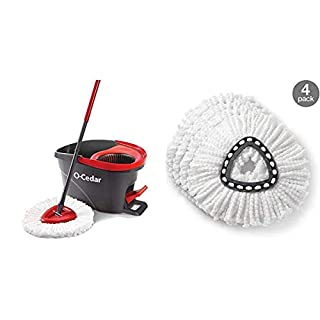 O-Cedar EasyWring Microfiber Spin Mop, Bucket Floor Cleaning System & EasyWring Spin Mop Refill (Pack of 4) (B07TKXJDPW) | Amazon price tracker / tracking, Amazon price history charts, Amazon price watches, Amazon price drop alerts