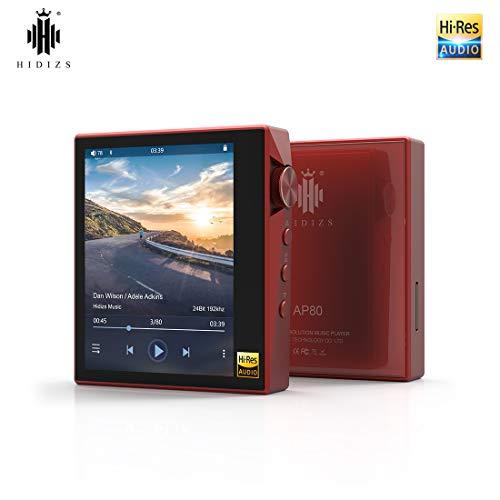 HIDIZS Lettore MP3 Bluetooth Hi-Fi AP80, lettore audio digitale ad alta risoluzione portatile con LDAC/aptX/DSD, lettore musicale Lossless con schermo a sfioramento completo (rosso)