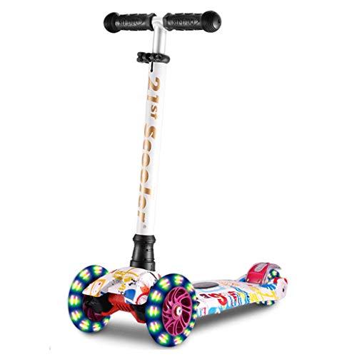 Dzwyc Scooter Scooters de la Cabeza Anti-colisión para niños de 3 años y un Scooter Plegable para niñas, 3 Altura Ajustable, Llantas Ligeras Patinetes (Color : Multi-Colored)