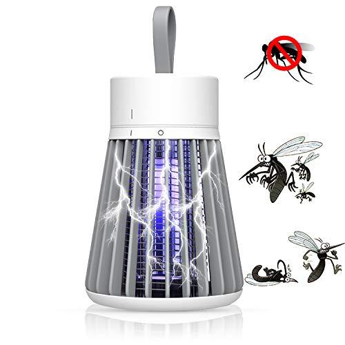 Elektrischer Insektenvernichter, Electric Bug Zappers LED Insektenfalle Mückenkiller Fluginsektenvernichter USB Wiederaufladbar with Hook Portable for Home Outdoors Schlafzimmer Gärten