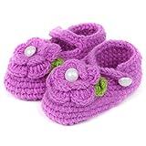 Tuzi Qiuge Handgestrickte Babyschuhe (Rosa) for Babys und Neugeborene, geeignet for Anfänger, (Color : Purple, Size : 11cm)