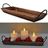 AGLARY Wood Candle Holder with Metal Handle, Rectangle Decorative Tray for Display Candle, Dining Table, Wedding