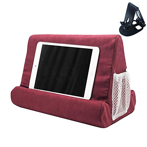 Soporte para tableta con bolsillo de red y soporte para tableta de varios ángulos de color aleatorio, soporte para rodilla, rodilla, sofá y cama, soporte universal para teléfono (rojo oscuro)