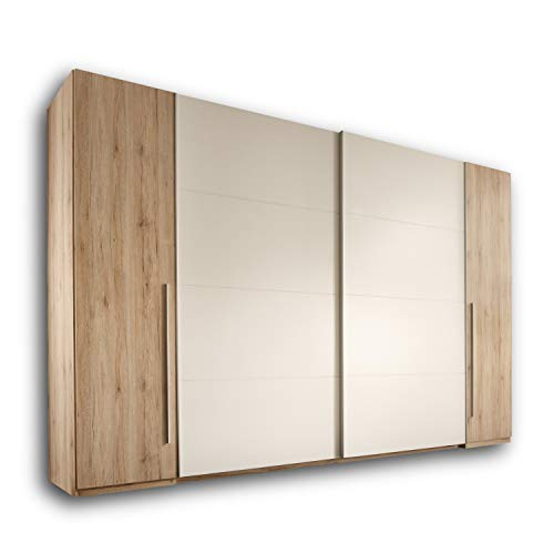 MATCH Eleganter Kleiderschrank mit viel Stauraum - Vielseitiger Schwebetürenschrank in Eiche San Remo Optik, Weiß - 315 x 226 x 60 cm (B/H/T)