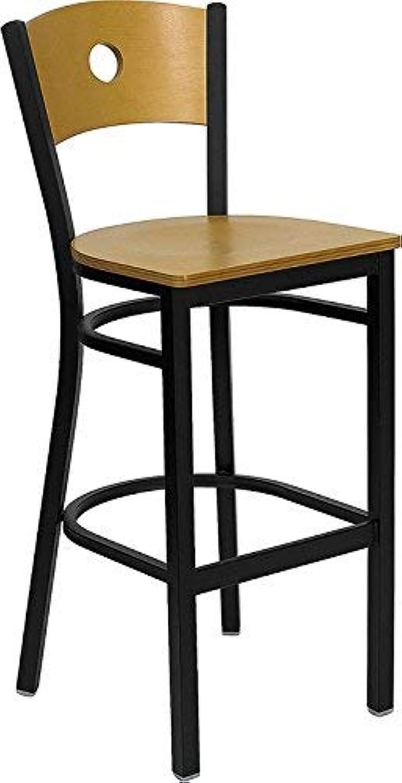 Flash Furniture HERCULES Series Black Circle Back Metal Restaurant Bar Stool - Natural Wood Back & Seat