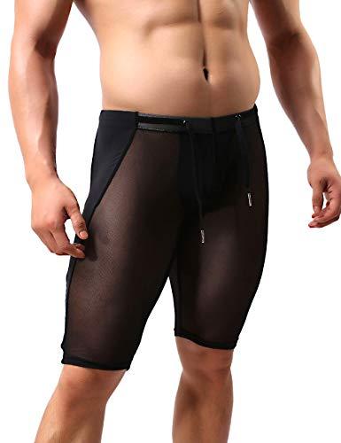 MIZOK Men's Fitness Mesh Shorts Yoga Capris See Through Workout Tight Shorts (Medium, Black)