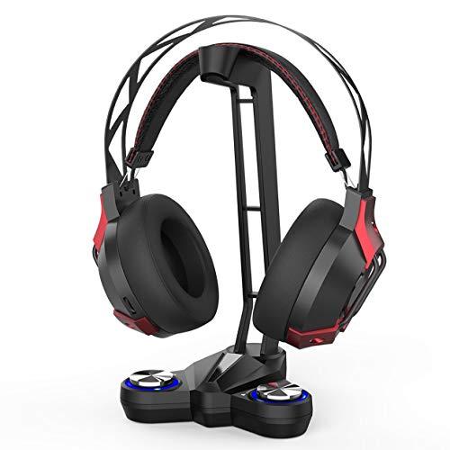 dodocool Soporte Auriculares para Cascos Gaming Headphone Stand Sonido Envolvente 7.1 con luz LED, 2 USB Conectores de Audio, 1 Conector de AUX y Conector para micrófono de 3.5mm