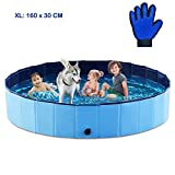 SHOKAN Hundepool für Hunde, 160X30CM Swimmingpool Für Haustier und Kinder Swimmingpool Hunde und Katzen Planschbecken Hundebadewanne Faltbarer Pool