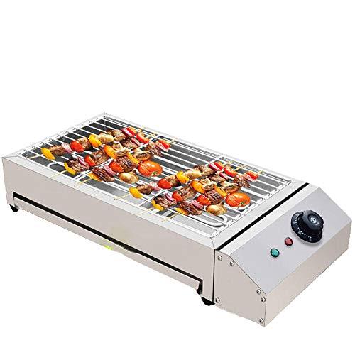 SHENGZHI Barbacoa Electrica, Parrilla Para Cocinar y Barbacoa-Parrilla Interior Con Bandeja de Goteo Ajustable A Temperatura Constante FáCil de Limpiar SartéN Antiadherente-2800w