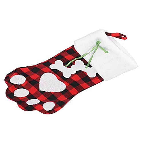Medias de Navidad de pata, Medias con patrón de pata para mascotas Colgantes de chimenea con calcetines de franela de felpa para decoración navideña(Rojo negro)