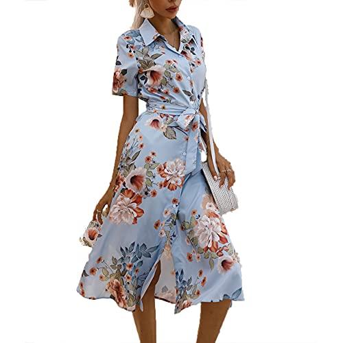 XYJD FrüHling Und Sommer Damen Casual Pullover Revers Bedruckte Bandage Taille Einreihiger Saum Schlitz Kurzarm Kleid Damen