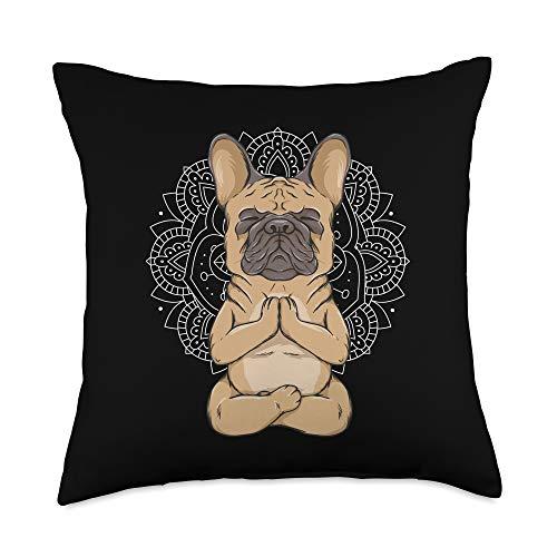 Funny spiritual yoga dog mom gift man women kids Frenchie Meditation French Bulldog Spirituality Cute Animal Throw Pillow, 18x18, Multicolor