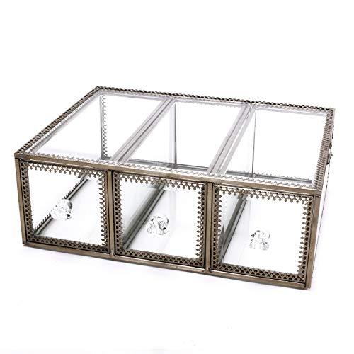 Yxsd Verre transparent et bijoux de BrassMetal cosmétique de stockage de maquillage de l'organisateur Top Dresser Grand écran (2 tiroirs) 3 Drawers