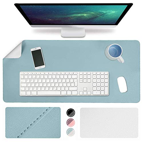 """WAEKIYTL Leather Desk Pad, Desk Blotter Protector Cover Large Mouse Pad, Ultra Thin Waterproof Dual-Sided Easy Clean Desk Writing Mats for Office/Home/Computer (31.5"""" x 15.7"""") (Light Blue/Silver)"""