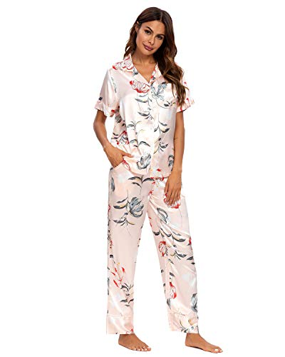 Unifizz Damen Schlafanzug Satin Kurz/Lang Frauen Sommer Hausanzug Nachthemd Zweiteiliger zum Knöpfen Tops Hose Loungewear Sexy Pyjama Set