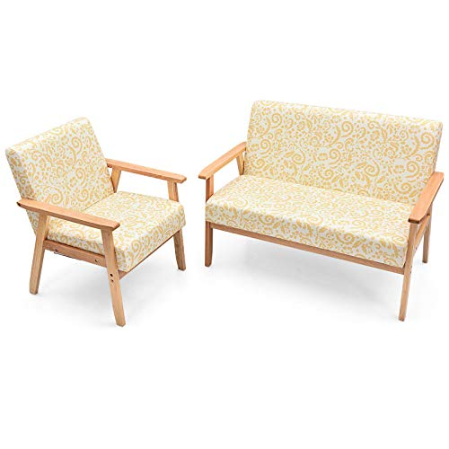 Yellow Floral 2 PCS Living Room Sofa Set Upholstered 2 Seat Loveseat Sofa Couch Accent Armchair Lounge Chair Thick Cushion Rubberwood Frame Suitable for Living Room Study Room Bedroom Office Use