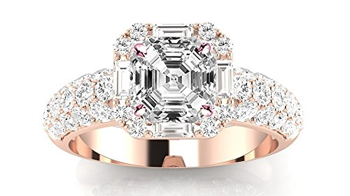 1.4 Carat t.w. 14K Rose Gold Asscher Designer Popular Halo Style Baguette and Pave Set Round Diamond Engagement Ring I/VS2 Clarity Center Stones.
