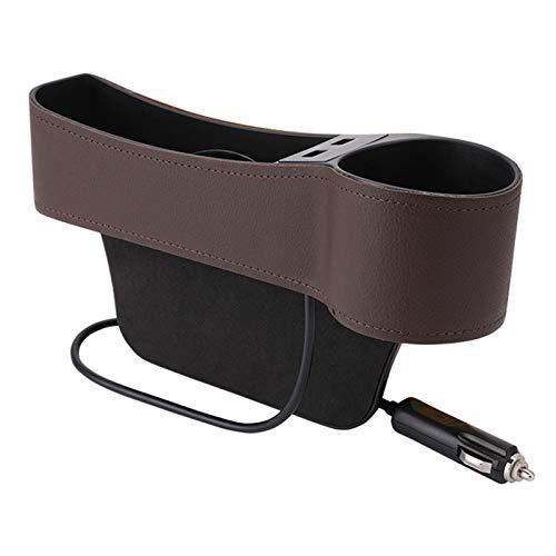 Universal Car Steel Gap Filler Catcher Organizer Console Side Bols Bols Better Box Caja Doble USB Cargador Taza Soporte Auto Stowsti 412 (Color Name : Right Driving Brown)