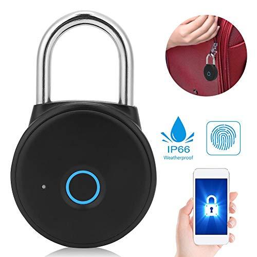 Bluetooth Lock, Keyless Smart Padlock Smart Fingerprint Padlock, Bluetooth APP Control Padlock Metal Padlock Safety Padlock for Office Cabinet Gym