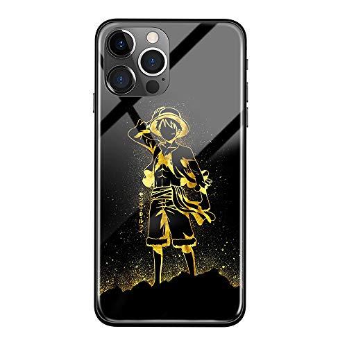Golden Luffy Anime One Piece Funda de vidrio templado para iPhone 11 12 pro Max cubierta protectora iPhone 6 6s 7 8 Plus X XS XR Max (YY-0007, para iPhone 11 PRO)