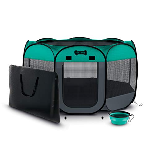 Ruff 'N Ruffus Portable Foldable Pet Playpen + FREE Carrying Case + FREE Travel Bowl | Available in 3 Sizes | Exercise Pen Kennel Indoor/Outdoor Water-Resistant Removable Shade Cover Dogs/Cats/Rabbits