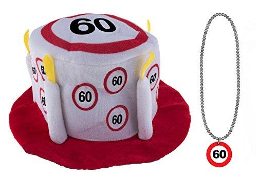 Karneval-Klamotten Geburtstagset 60 Jahre Verkehrsschild : Hut mit Halskette