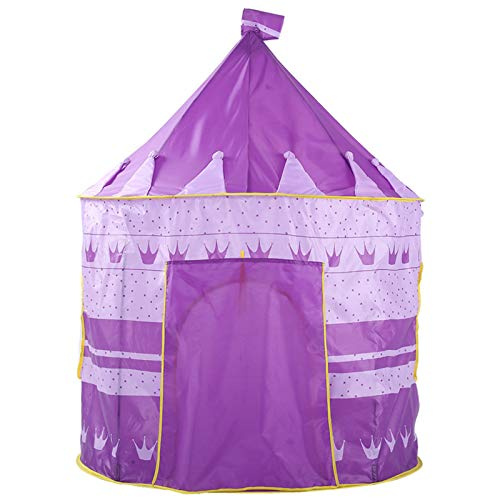 ZJM Play Tent for Kids Toy, Purple Crown Striped Castle Tent Outdoor Playing And Camping Tent, Easy Installation, for Indoor And Outdoor Games, 135 * 105 Cm